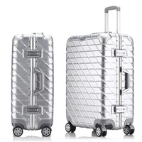 Retro Rolling Luggage Bag Brand Full Metal Travel Suitcase Original Women Trolley Luggage Boarding Box Aluminum Carry On Bag