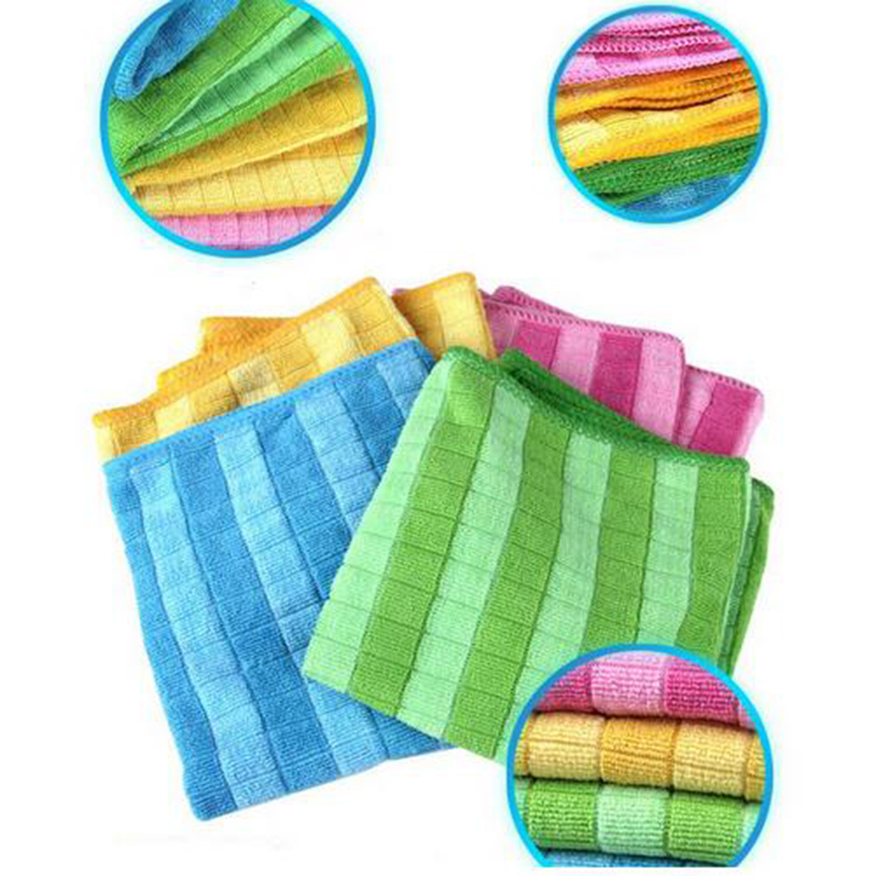 4 Pieces Color Bar Plaid Microfiber Glass Cleaning Cloths Good Absorption Souring Pad Durable Towels Kitchen Cleaner 30x40cm