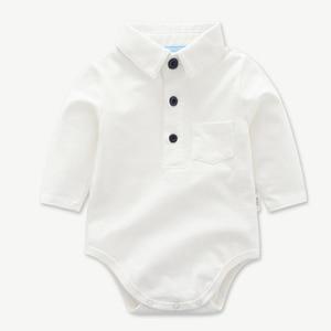 Image 2 - Newborn Clothes Toddler Boy Hat Romper Clothing Baby Set 3PCS Cotton Bib Long sleeved Jumpsuit Suit Boys Fashion Outfit 3 6 24M