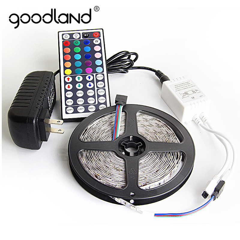 Goodland RGB LED Strip Light 5050 SMD 5M 10M 60Leds/m Flexible Light Tape IR Remote Controller 12V Power Adapter LED Ribbon