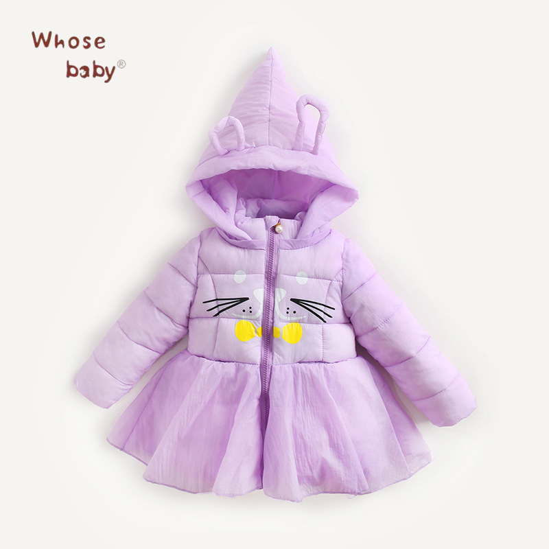 2017 Winter Down Jackets For Girls Cartoon Hooded Outerwear Fashion Warm Infant Cat Print Down Coat Christmas Gift Kids Clothing