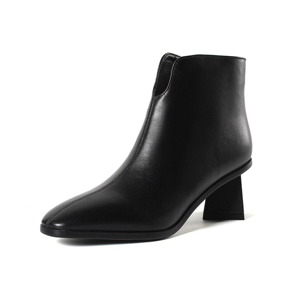 2018 automne et hiver femmes bottines mode vraiment en cuir 6 CM talon haut deux types de chaussures pour femmes doublure confortable2018 automne et hiver femmes bottines mode vraiment en cuir 6 CM talon haut deux types de chaussures pour femmes doublure confortable