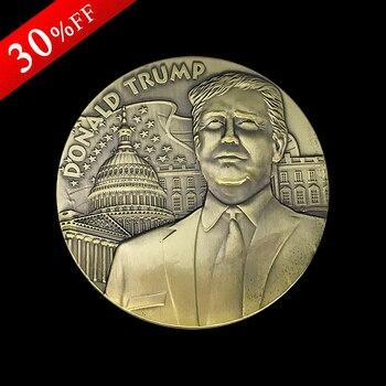 2PCS/lot Big Zise 80 * 10 mm Huge President US Donald Trump Antique Bronze Coin USA Trump Double Eagle souvenir Coin New arrival