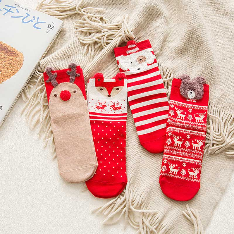 4Pairs Cute Animal Christmas Red Happy Socks