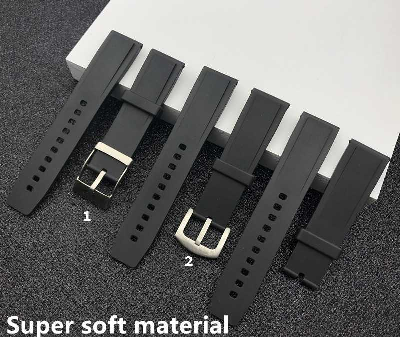 Imported Soft Rubber silicone Watch band 22mm Black bird Watchband Bracelet For navitimer/avenger/Breitling strap buckle lon on