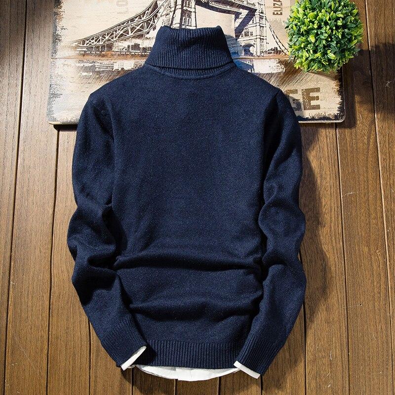 Зимний толстый теплый мужской свитер с высоким воротником, Брендовые мужские свитера с высоким воротником, облегающий пуловер, Мужская трикотажная одежда с двойным воротником