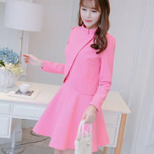 Plus Size Limited Polyester Robe Summer Dress New And Summer 2017 Korean Large Yards Are Slim Long Sleeved Suit Jacket Dress