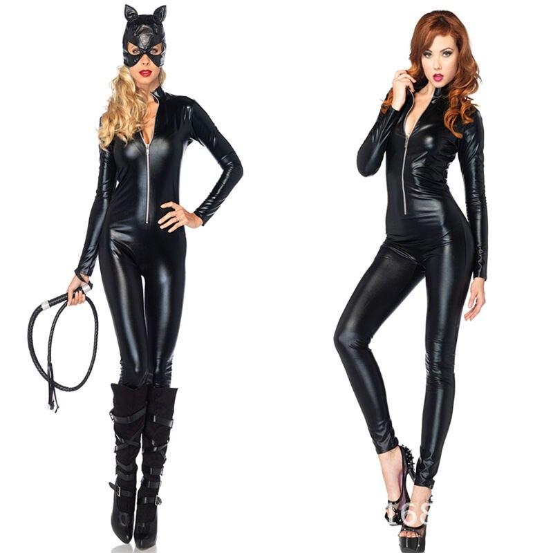 M-3XL Wet Look Black Spandex Faux Leather Zipper Catsuit Catwoman Bodysuit Jumpsuit Superhero Costume