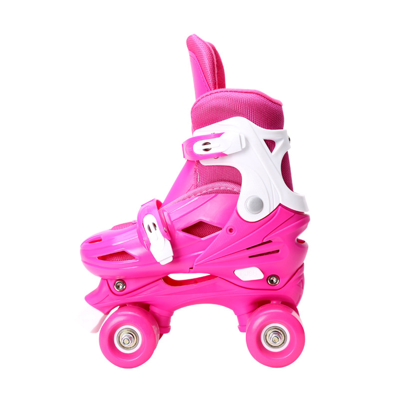 Lovely Kids Children Girl Pink Double Line Quad Parallel Figure Skates Shoes Boots PU 4 Wheels