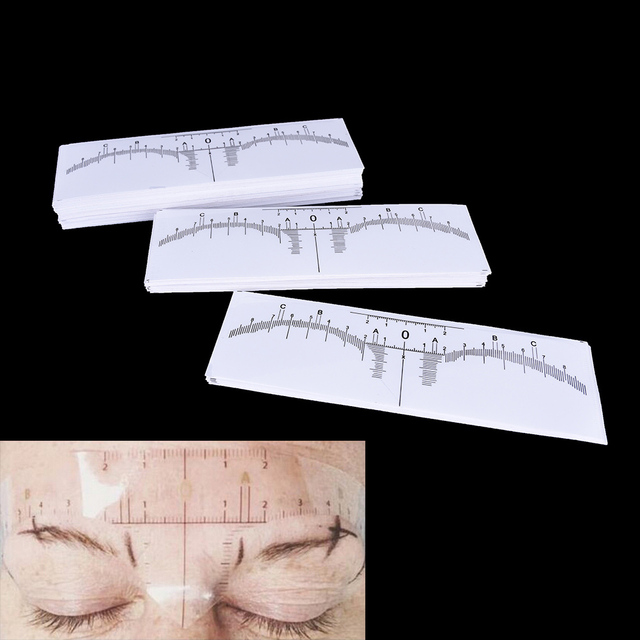 10Pcs Disposable Eyebrows Ruler Stickers Accurate Ruler Permanent Makeup Eyebrow Shaping Tools Tattoo Measurement Rulers Sticker 1