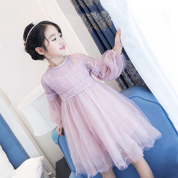 4-12 Yrs Girl Princess Long-sleeve Dresses 4 Colors Casual Graceful Design Kids Teens Children Baby Girl Clothes for Party Prom
