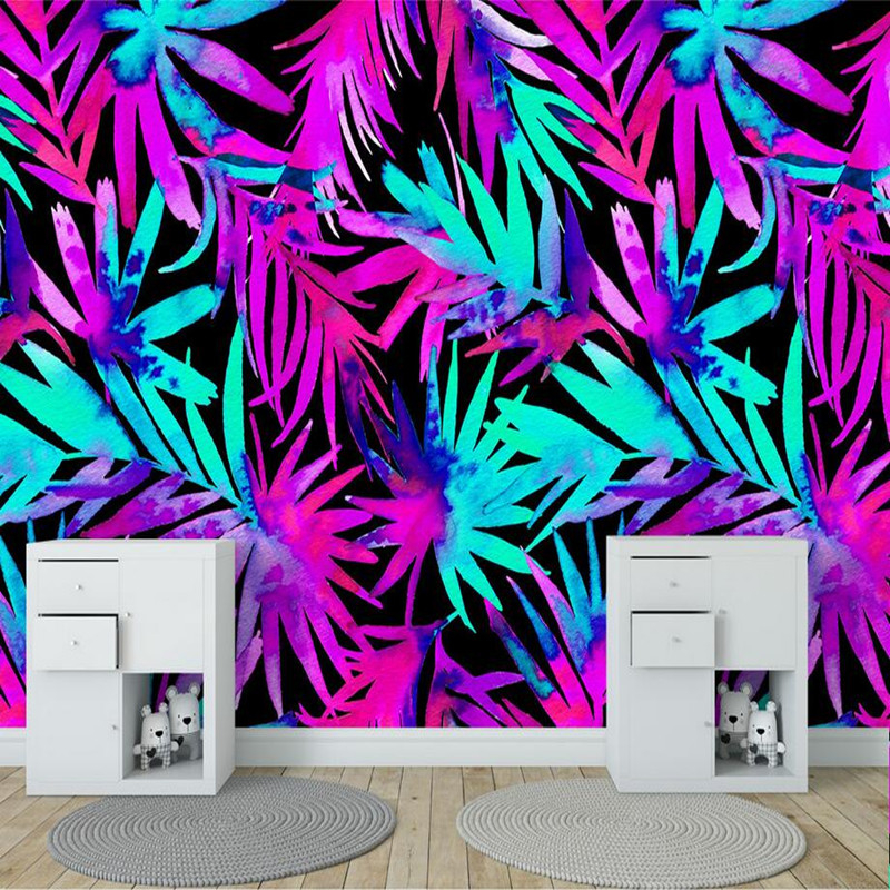 3D Custom Photo Wallpapers Modern Simple Murals Colorful Tropical Plant Leaves Walls Papers for Living Room Painting Home Decor custom photo size wallpapers 3d murals for living room tv home decor walls papers nature landscape painting non woven wallpapers