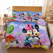 Purple pink mickey couple Bedding Quilt Cover Duvet Cover Set Pillowcase Microfiber Soft Comforter Bedroom Single Queen King(China)