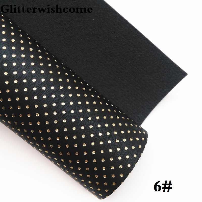 Glitterwishcome 21X29 CM A4 Tamanho de Couro Sintético, Pontos de Ouro Em Relevo, falso tecido De Couro PU Vinil para Arcos, GM071A