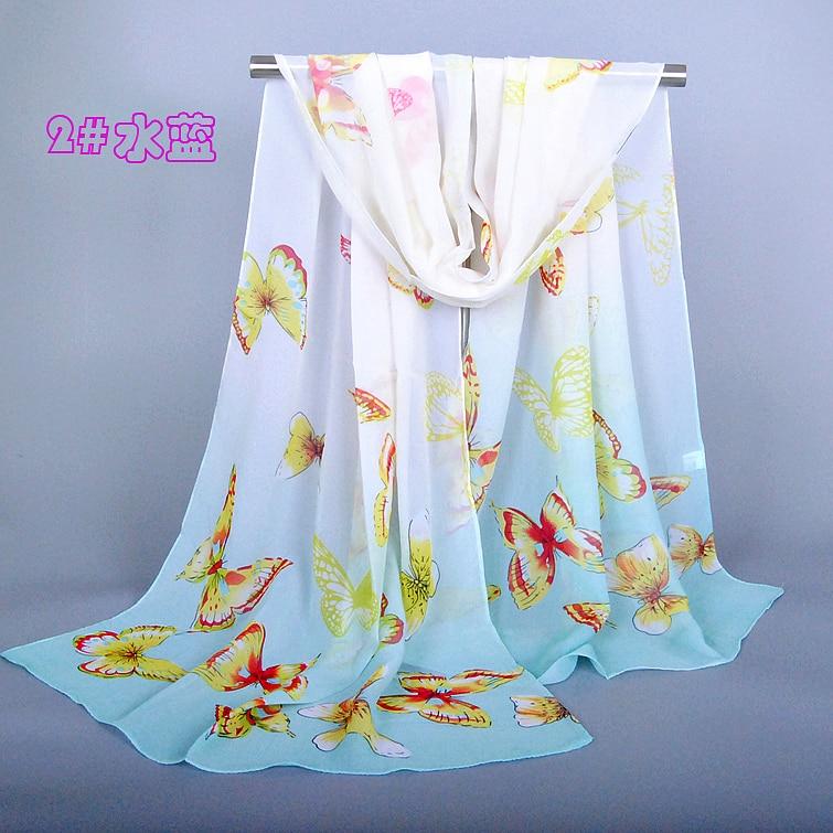 d6f8f533a437 Femmes printe écharpe   châles papillon mousseline de soie longue printemps  tête automne fleur hijab wrap foulards   châles XQ106