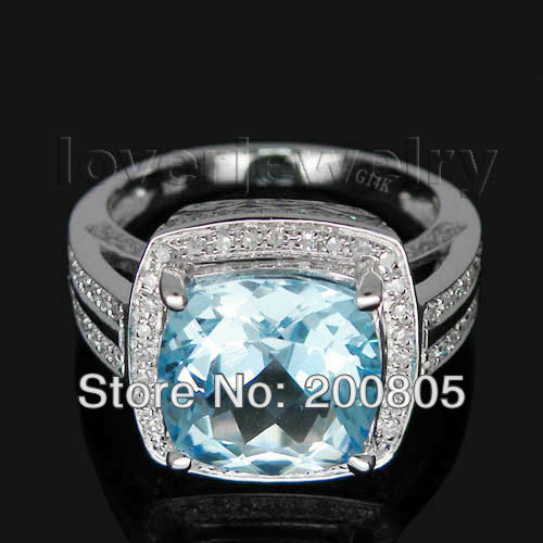 New Elegant Vintage Cushion 10x10mm 14Kt White Gold Diamond Blue Topaz Ring R00122New Elegant Vintage Cushion 10x10mm 14Kt White Gold Diamond Blue Topaz Ring R00122