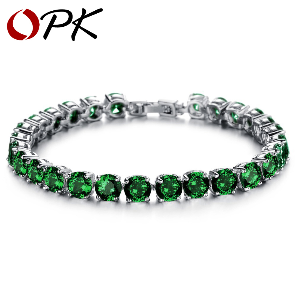 OPK JEWELRY Luxury AAA+ Cubic Zirconia Tennis Green / Clear Rhinestone Bracelet & Bangles Gold Color 928/408 кольцо opk 316l aaa 3 gj447