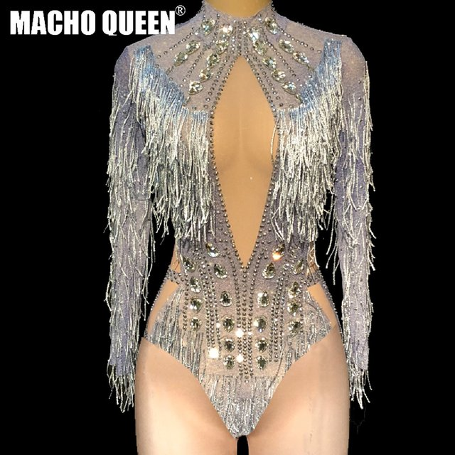 f90c3adb72 Celebrity Rhinestone Fringe Bodysuit Drag Queen Costomes Party Birthday Burning  Man Jumpsuit Singer Stage Show Latin Dance Wear