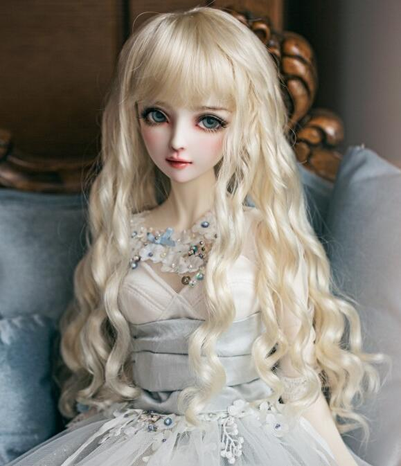 где купить Hot Imitation mohair Pale gold Long Curly hair For 1/3 SD DD BJD Doll Wig по лучшей цене