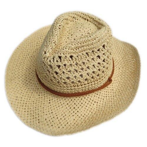 Verão estilo palha cowboy chapéu unisex oco