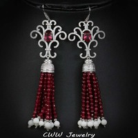 CWWZircons 11cm European Ethnic Style Long Dangling Drop Red Women Wedding Royal Earring Jewelry With Natrual Druzy Stones CZ291