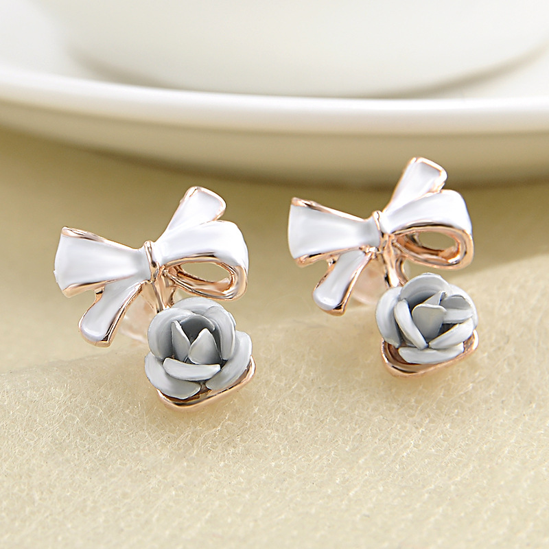 Fashion 1 Pair Women Lady Charming Rose Flower Ear Studs Bowknot Earring Jewelry Gift 6 Colors