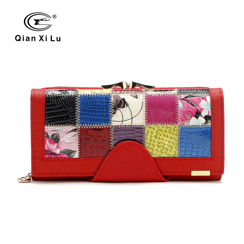 Qianxilu Brand Fashion Women Wallet Äkta Läder Patchwork Purse Kvinna Lång Design 2016