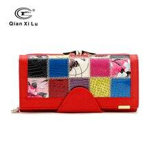Qianxilu бренд моды женщин бумажник из натуральной кожи лоскутное кошелек женщина долго дизайн 2016