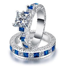 2pcs/set Luxury Fashion Zircon Rings Blue Sapphire Couple Wedding Rings Forever Romantic Lovers Finger Rings Jewelry(China)