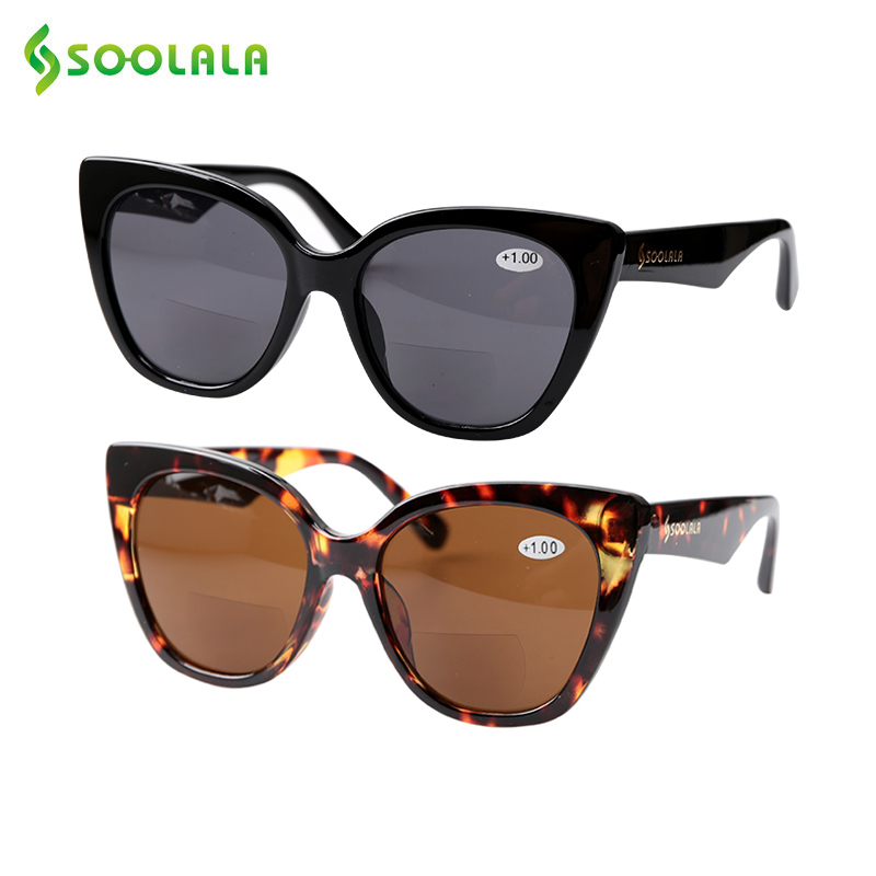 SOOLALA Cat Eye Bifocal Sunglasses Reading Glasses Women Men Designer Sunglasses Diopter Anti Blue Reading Sunglasses 1.0 To 4.0