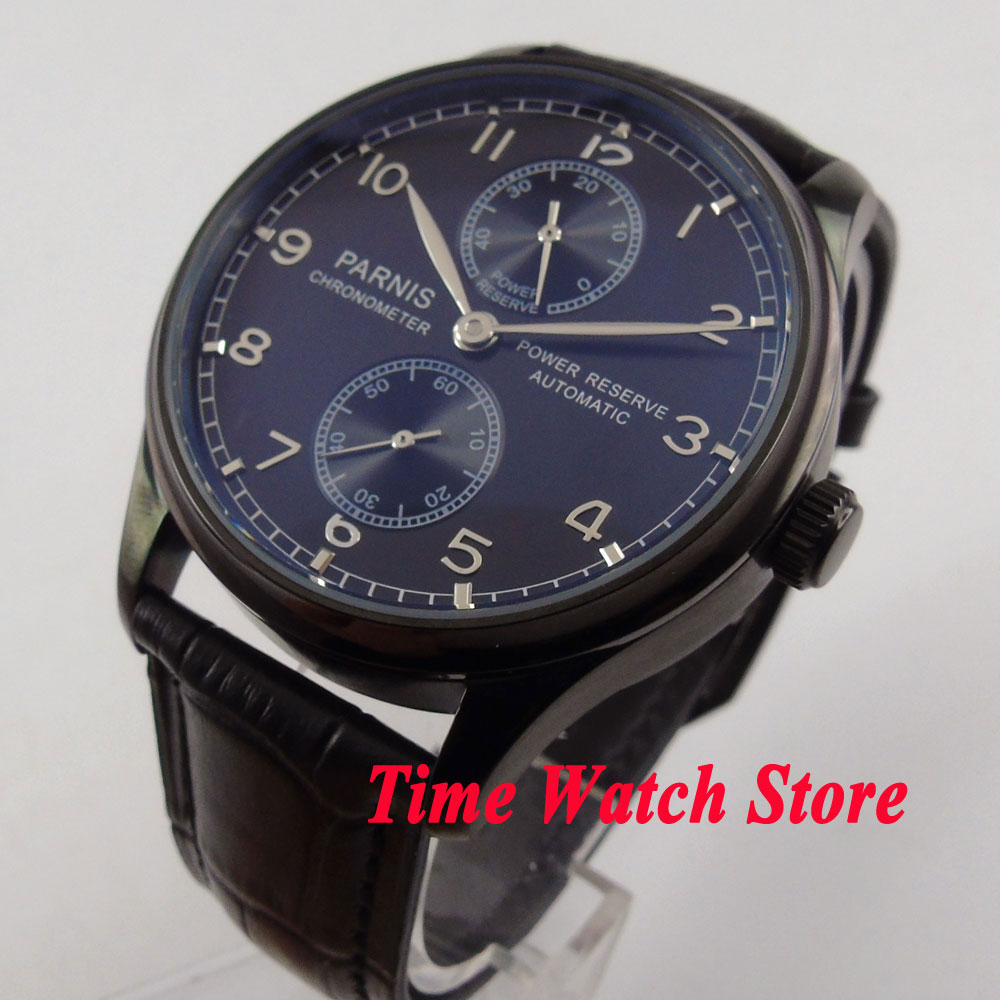 Parnis 43mm black dial silver hands PVD case power reserve ST2542 Automatic movement mens watch 262 43mm parnis black dial power reserve automatic watch p001