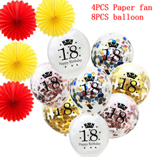 12pcs 18 th Sequins Balloon Birthday Balloons Red Yellow Paper Fans Flower Happy Number Ballons Party Decorations