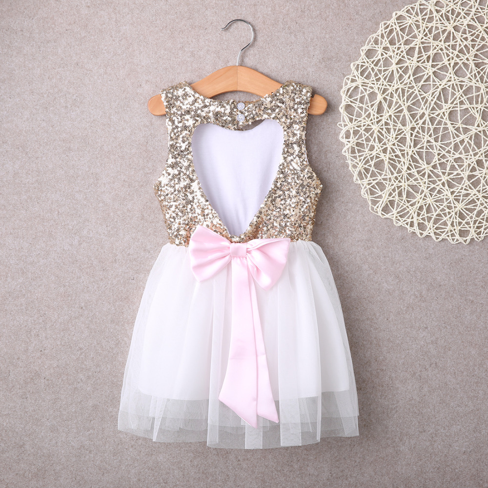 Sequins Princess Kids Baby   Flower     Girl     Dress   Bowknot Backless Wedding Party Gown   Dresses