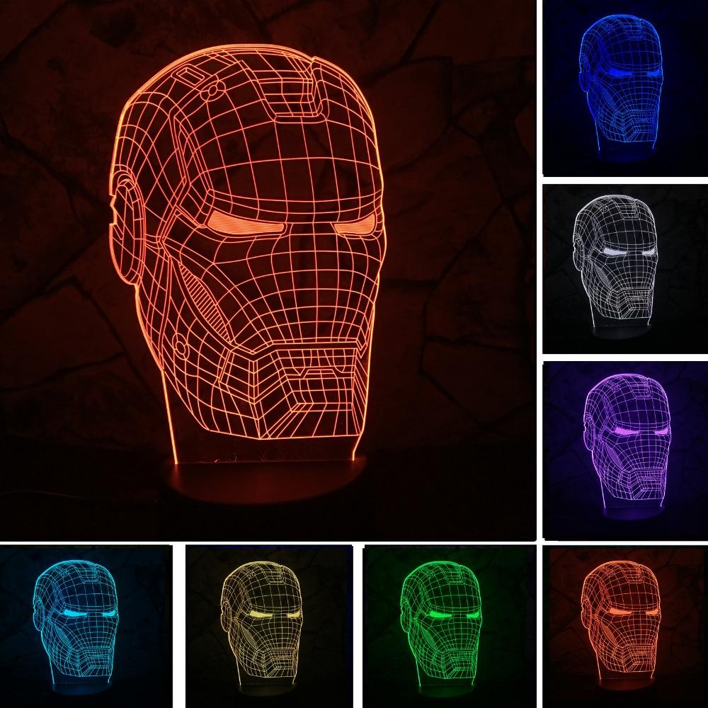 new marvel avengers lamp 3d art iron man mask night light superhero illusion mood lampe for kids. Black Bedroom Furniture Sets. Home Design Ideas