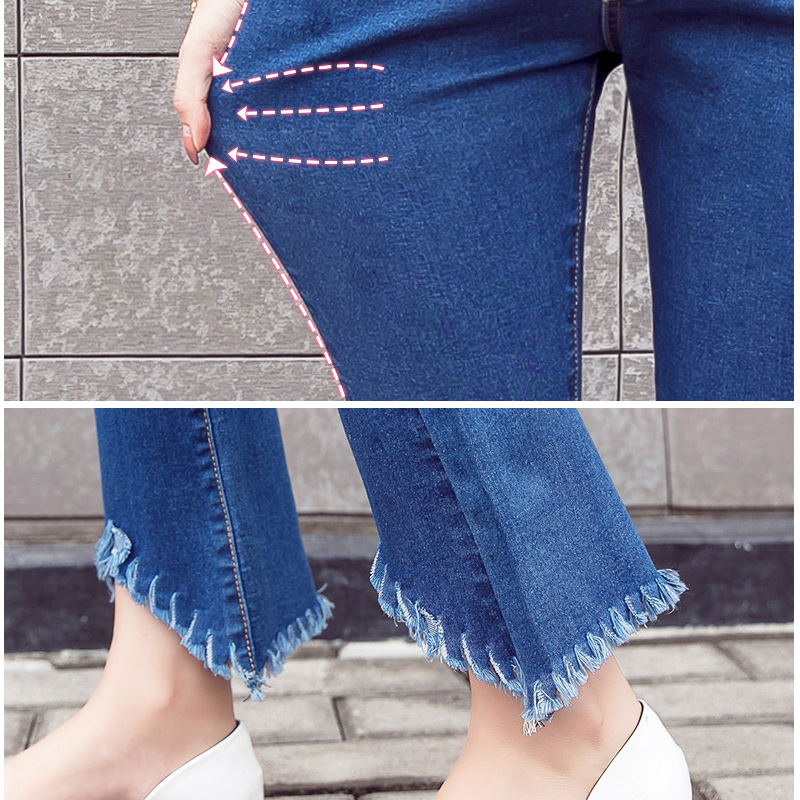 Y Leg Open 9 10 Length Pregnant Women Jeans Elastic Stretchy Cotton Denim Pencil Pants Maternity Trousers Elastic Waist Flares in Jeans from Mother Kids