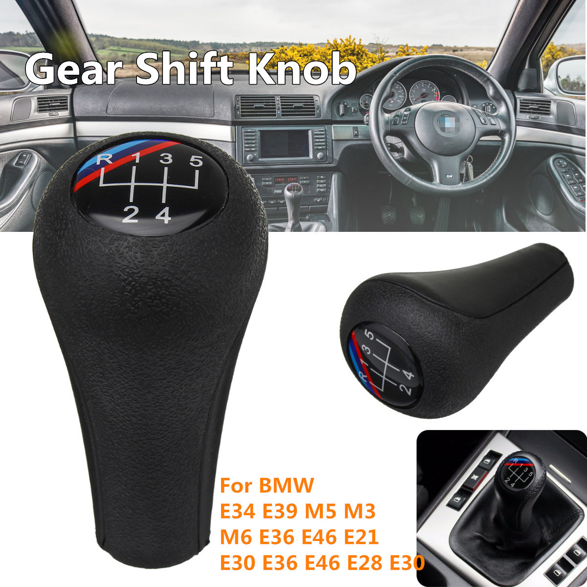 5 Speed Gear Shift Knob For <font><b>BMW</b></font> E34 E39 M5 M3 M6 E36 E46 <font><b>E21</b></font> E30 E36 E46 E28 E30 Black gear knob image
