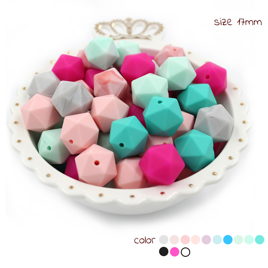 30x silicone beads SNOW WHITE 17mm hexagon BULK BPA free baby teething necklace