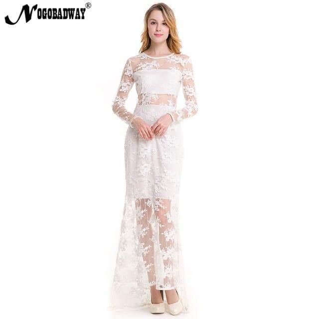 best loved 1afe3 4270d US $18.96 15% di SCONTO|NOGOBADWAY trasparente sexy abito di pizzo organza  lungo bianco nero manica lunga vestiti da partito delle donne di lunghezza  ...