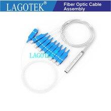 10 개/몫 0.9mm 스틸 튜브 광섬유 PLC 분배기 1x8 1x16 SC/UPC 미니 블록리스 1*8 SC UPC 커넥터 무료 배송