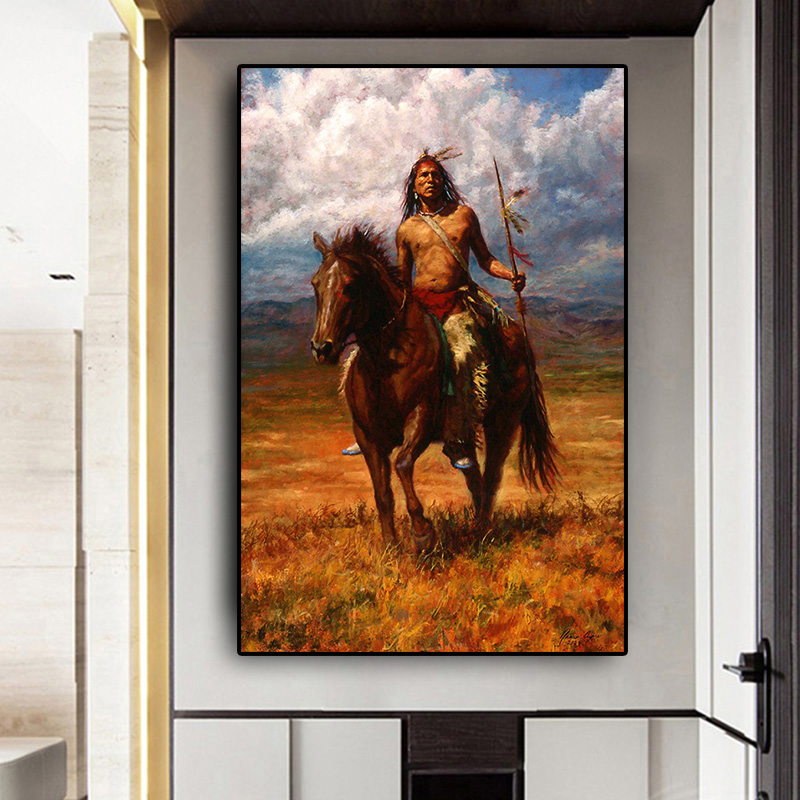 Abstract Native Indian Landscape Oil Painting on Canvas Posters and Prints Cuadros Art Wall Picture for Living Room(China)