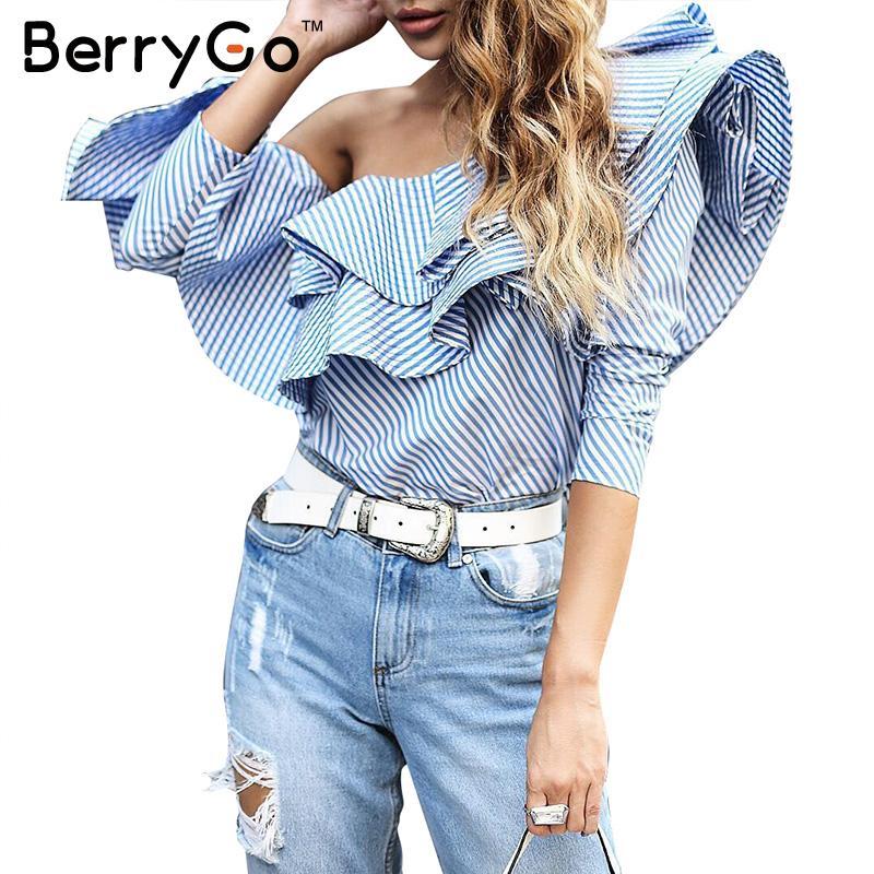 BerryGo  Otoño casuales de manga larga camisa azul a rayas de Un hombro volantes