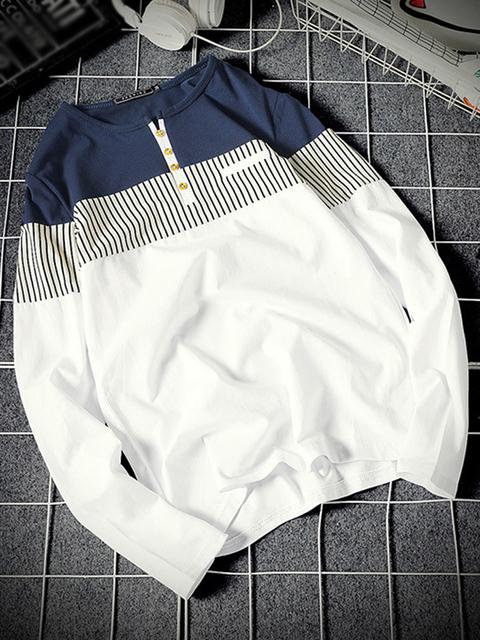 Men's Cotton Full Sleeve Henley Neck T-Shirt
