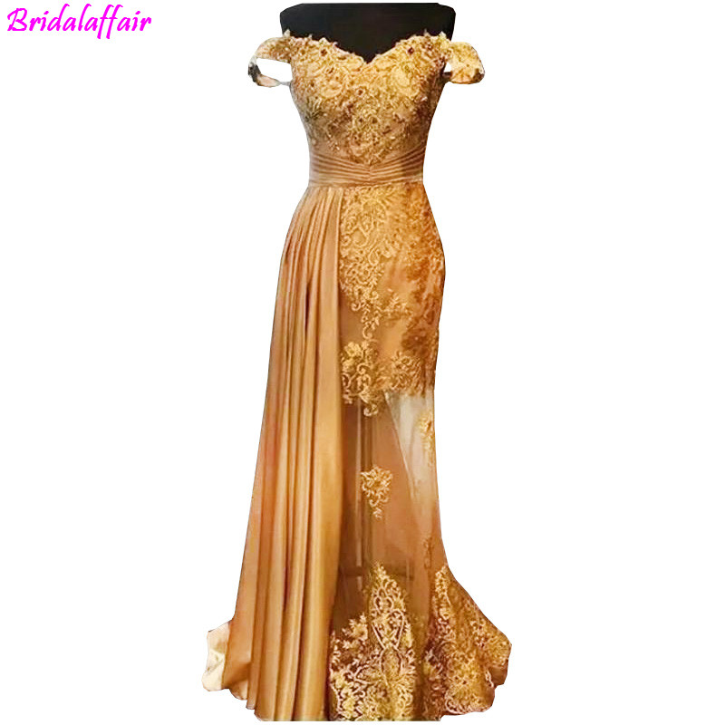 Gold Lace Evening Dresses With Sparkle Crystal Sexy Illusion Long Evening Gowns Off Shoulder Party Dresses robe de soiree longue
