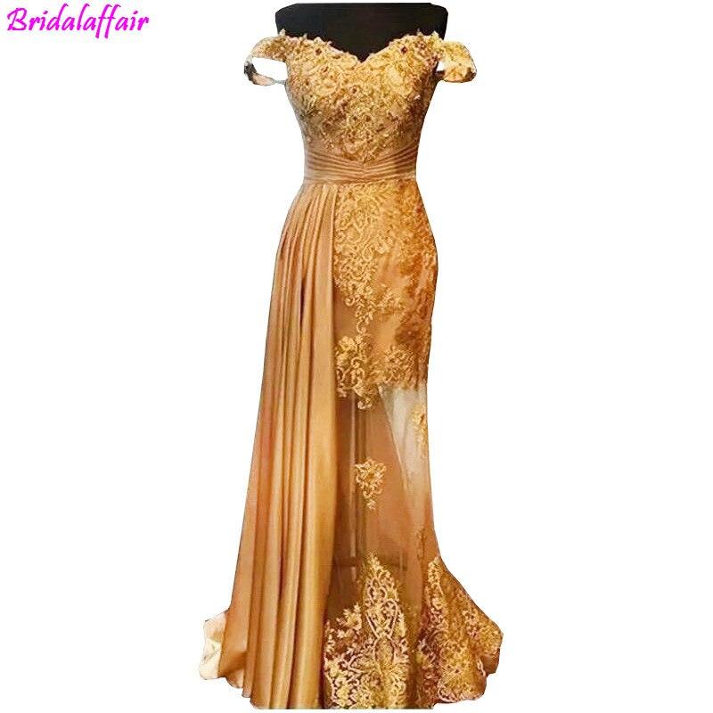 Or dentelle robes de soirée avec étincelle cristal Sexy Illusion longue robes de soirée hors épaule robes de soirée robe de soirée longue