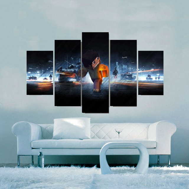 Us 575 40 Offmodern Canvas Pictures Hd Printed Wall Art Frame Living Room Home Decor 5 Pieces Game Minecraft Painting Battle Poster Pengda In
