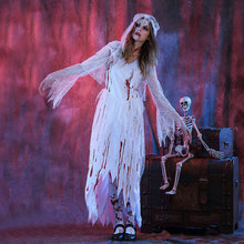 Halloween Purim Scary White Blood Zombie Corpse Bride Costume Adult Fantasia Costumes Cosplay Dress with Stocking for Women