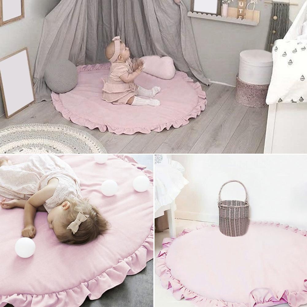 100cm Children Baby Game Mat  Lace Play Crawl Round Mat Photo Props Mats  Air-conditioned  Bed