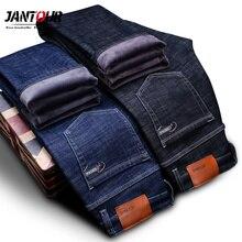 Высококачественные зимние теплые флисовые мужские джинсы, плотные Стрейчевые джинсы, прямые брюки, хлопковые брюки, мужские большие размеры 40, 42, 44