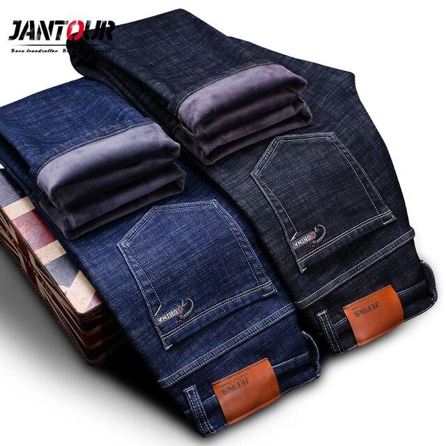Высокое качество зима теплая Для мужчин джинсы плотной эластичной джинсы прямые брюки мужские хлопковые штаны Для мужчин большой size40 42 44 46