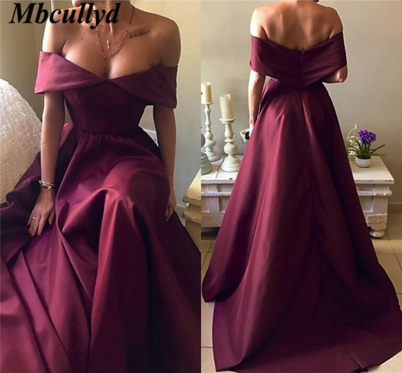 Mbcullyd Grape Satin   Prom     Dresses   2019 Sexy Backless Off Shoulder Formal   Dress   Evening Wear Cheap Plus Size New robe de soiree